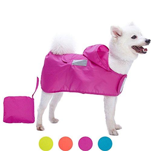 Blueberry Pet 36cm Leichter Verstaubarer Kapuzen-Hunde-Regenmantel Poncho mit 3M Reflektor-Sicherheitsstreifen in Cerise-Pink, Einzelpackung Outdoor Regenjacke für Hunde