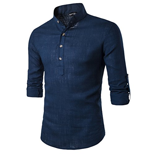 2 Button-up-shirt (Zhuhaitf Mens Father Boyfriend Freund Long Sleeve Linen Rolled up Shirts Slim Fit Summer Casual Christmas Gift)