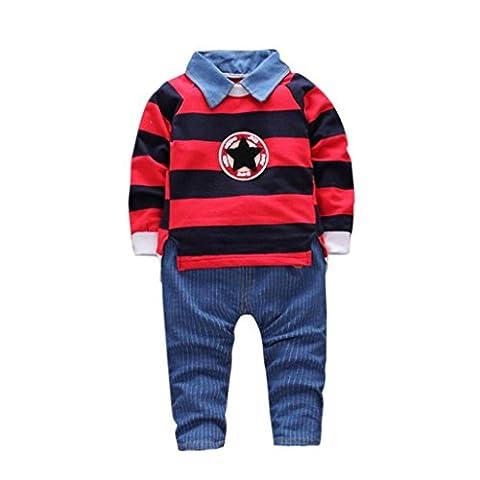 Hiver Automne bébé Costume Vêtements, Moonuy L'automne d'hiver badine des garçons de bébé de bande rouge O-Neck pulls chauds t-shirt Tops + Blue Stripe Pants vêtements Casual ensemble (12mois,