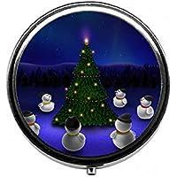 LinJxLee Merry Christmas Tree Snowman Round Pill Case Pill Box Tablet Vitamin Organizer Easy to Carry preisvergleich bei billige-tabletten.eu