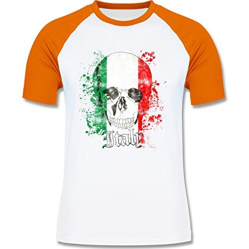 EM 2016 Frankreich Italy Schädel Vintage zweifarbiges Baseballshirt für  Männer Weiß/Orange