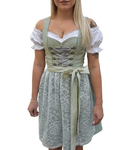 Golden Trachten-Kleid Dirndl Damen 3 TLG, Midi für Oktoberfest, mit Schürze und Bluse ()