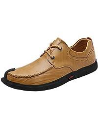 9371eb8f4f Loafer de Negocios para Hombre Cómodo, de Cuero Genuino, con Cordones,  Deslizamiento Plano en Punta Redonda Forrada de Oxford…
