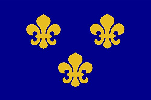 DIPLOMAT Flagge Medieval France | Present Day s Île-de-France In 1328, The Coat-of-arms of The House of Valois was Blue with Gold Fleurs-de-lis Bordered in red | Querformat Fahne | 0.06m² | 20x30c -