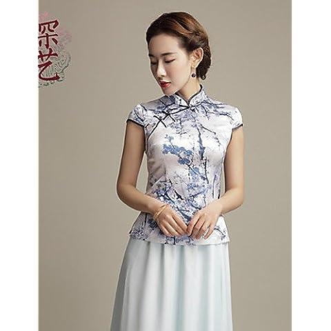 GSP-Blusa Da donna Spacco Colletto alla coreana Manica corta Raso