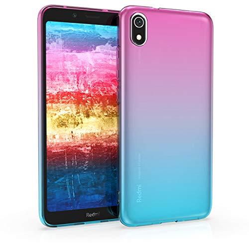 kwmobile Funda para Xiaomi Redmi 7A - Carcasa para móvil de TPU con diseño Bicolor - Rosa Fucsia/Azul/Transparente