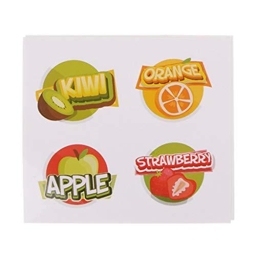 Burane Jin 2 Universal-Glasflaschen Obst-Aufkleber, Schleimbehälter, Aufkleber für Zuhause, Küche, Saft, Gläser, Aufkleber zum Selbermachen von Schleim, Zubehör (Maca Obst)