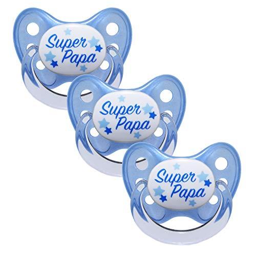 Dentistar® Silikon Schnuller 3er Set - Beruhigungssauger, Nuckel, Nuggi, Größe 2, 6-14 Monate - zahnfreundlich & kiefergerecht | Blau Super Papa