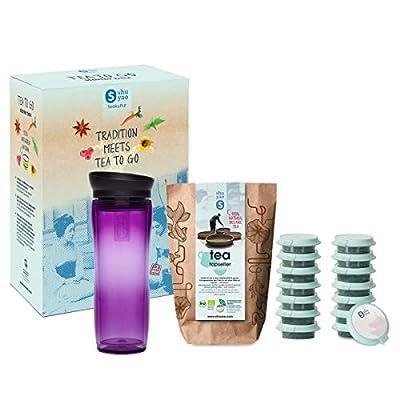 Shuyao Tea to Go Théière avec infuseur intégré + 5 x 3 Loser Bio Thé avec caféine Violet 45 g
