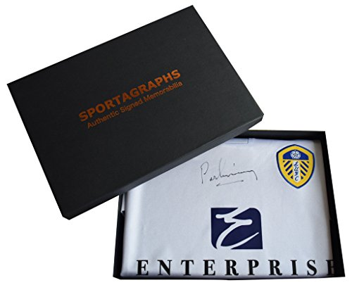 Sportagraphs-Peter-Lorimer-SIGNED-Leeds-United-Shirt-Gift-Box-Football-BNWT-New-AFTAL-COA-PERFECT-GIFT