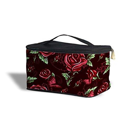 Rouge Rose avec épines cosmétiques maquillage étui de rangement – Fermeture éclair sac de voyage, noir, One Size Cosmetics Storage Case