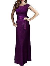 Miusol® Elegant Damen Cocktailkleid Rückenfrei Brautjungfer Spitzen Kleid Fishtail Langes Abendkleid Schwarz/Rot Gr.36-50