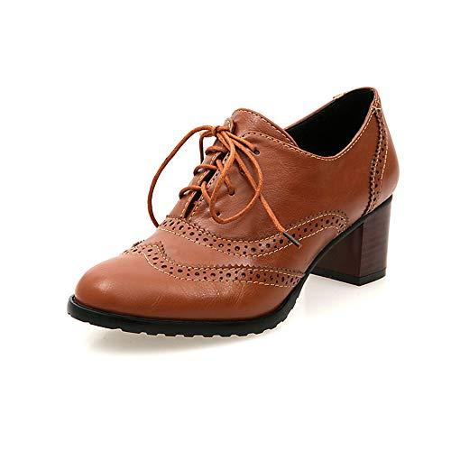 Zapato Oxford Cuero Mujer Hueco Zapatos Brogue Sólido