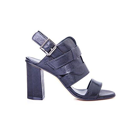 sandalo donna pelle tacco esagonale nero modello ixos