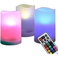 WRalwaysLX - Velas decorativas para interior y exterior, 7 velas LED cambiantes de color con mando a distancia y temporizador, juego de 3 pilas AAA de 6,35 cm de diámetro x 10,16 cm de alto por 3 pilas AAA (no incluidas)