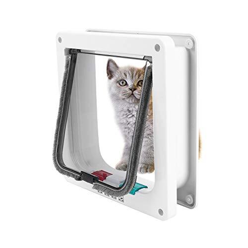 Smandy Mikrochip Katzenklappe, 4-Fach verschließbare Haustierklappe Tunnel, einfache Installation, Haustüre für Katzen und kleine Hunde