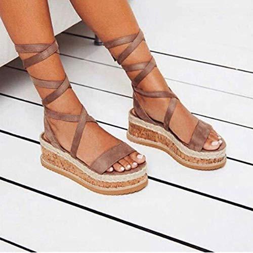Summer White Wedge Espadrilles Women Sandals Open Toe Rome Shoes Gladiator Sandals Ladies Casual Lace Up Female Platform Sandals Lace Up Platform Sandal