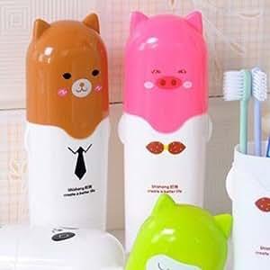 Ad Fresh 2 Pcs Cartoon Travel Toothbrush Storage Box Holder Case