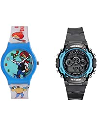 Fantasy World Dark Blue Watch And Sport Watch Combo For Boys And Girls