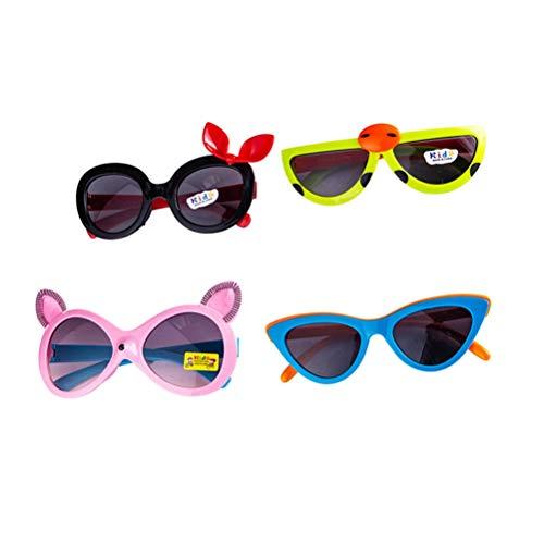 Toyvian 12 STÜCKE Nette Kunststoff Sonnenbrille neuheit Sonnenbrille UV Schutz für Kinder für lustige Party Dekoration (Gelegentliche Farbe)