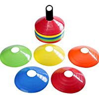 SAFETY Training Cones - Football Cones - SAFE Training Cones - MEGA PACK OF 50 DURABLE - FREE BAG AND STAND