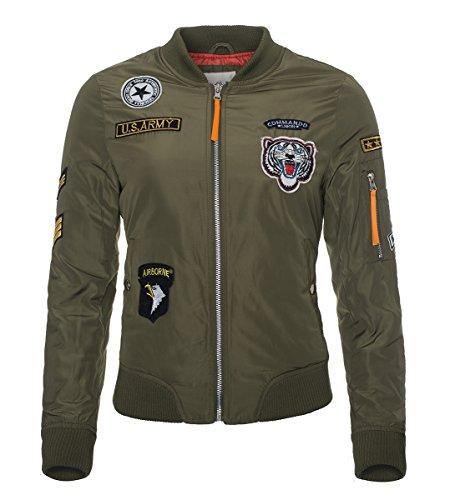 Damen Bomber Jacke Übergangs Jacke Piloten Flieger Army Retro Bomberjacke B225 Grün
