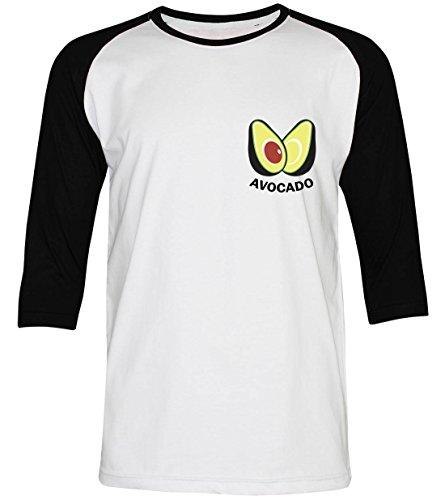 PALLAS Unisex's Avocado Funny Classic T-Shirt WhiteBlack 3/4Sleeve