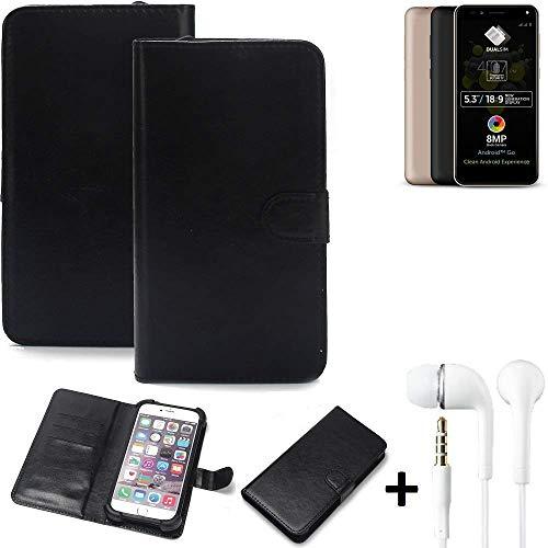 K-S-Trade Wallet Case Handyhülle für Allview A9 Plus Schutz Hülle Smartphone Flip Cover Flipstyle Tasche Schutzhülle Flipcover Slim Bumper schwarz, 1x Ear Headphones