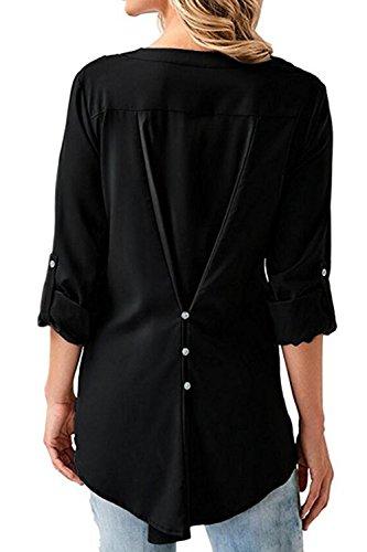 Donna Elegante Con Lo Scollo A V Di Pizzo Alto T - Shirt Camicetta Chiffon Floreale Black