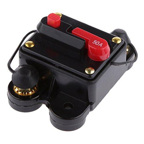 Homyl Auto-Verstärker Sicherungshalter 12-24Vdc Inline Auto Leistungsschalter Manuelle Reset Schalter Audio Sicherung - 50 Ampere (12v Leistungsschalter 50a)