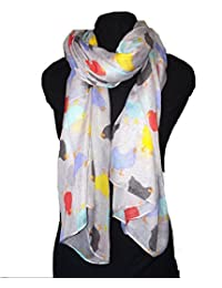 Pamper Yourself Now Grey with different coloured chickens/hen design ladies long soft scarf
