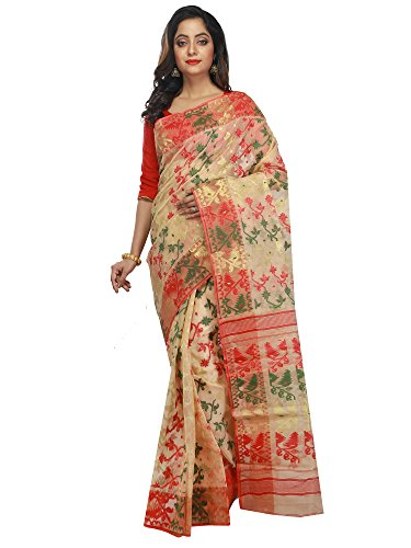 B3Fashion Women's Dhakai Jamdani Saree (Ags640_Beige)