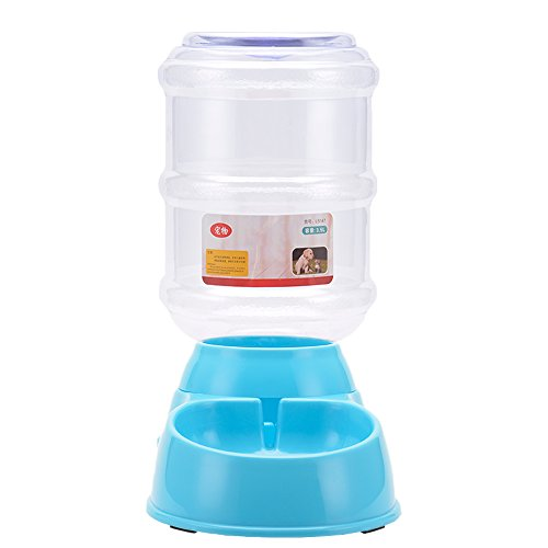 SILD Without Power Supply Pet Automatic Drinker Pet Waterer Portable Dog Cat Animal Water Drink Gravity Bowl Bottle Dish (Blue)