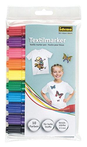 Idena 60035 - Textilmarker für helle Stoffe, 10er Set (1 Packung, 10 Farben) (Geburtstag Helles T-shirt Geburtstag)