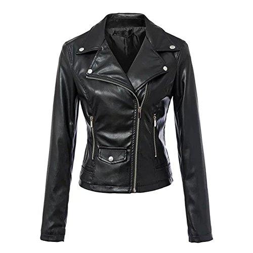 #SMITHROAD Elegante Damen Leder Radfahrer Motorrad Black Zipper lederjacke ,42#