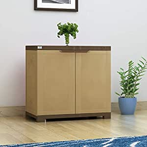 Nilkamal Freedom Mini 09 (FMSC09) Plastic Shoe Cabinet (Sandy Brown & Dark Brown)