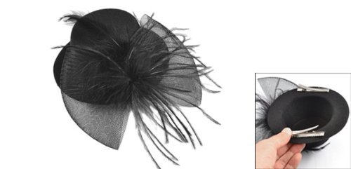 Rosallini Black Mesh Bowknot Feather Decor Mini Top Hat Alligator Hair Clip