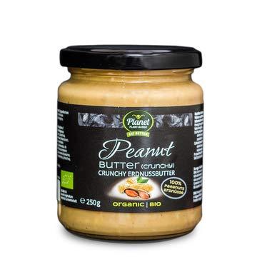 Planet Plant-Based Crunchy Erdnussbutter 2er Pack (2 x 250g) - Bio Peanut Butter Aus 100% Bio-Erdnüssen, Ohne Zusatzstoffe, Vegan, Glutenfrei, Ohne Zusatz Von Zucker - Natürliche Nussbutter