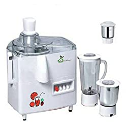 RGI GreenHome JMG Mark-1, 550 Watt Powerful Electric Motor Poly 3 Jars Juicer Mixer Grinder Color White