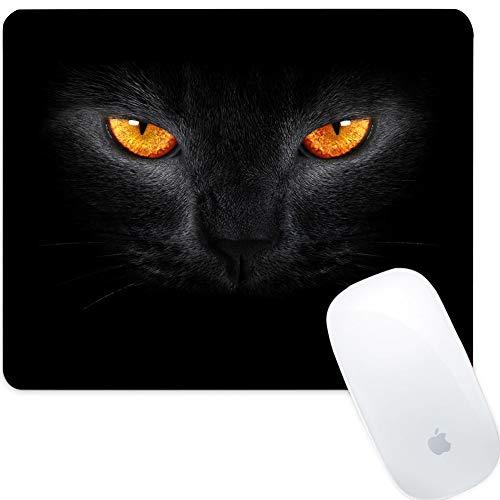 SOONSOP Gaming Mauspad Rechteckig 260x210x3mm Schreibtischunterlage Anti Rutsch Matte für Computer, PC und Laptop - Schwarze Katze Gelbe Augen Dunkel