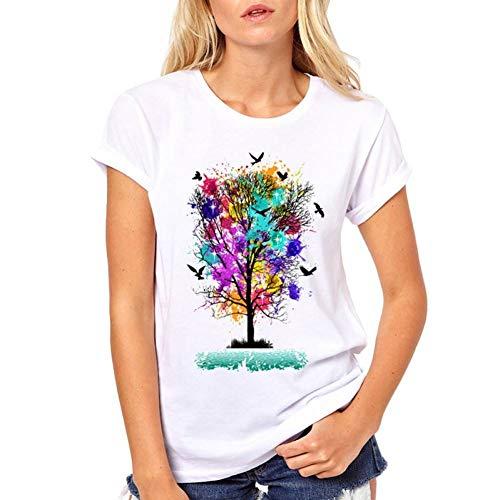 LIULINUIJ Frauen-T-Shirt Bunter Handgemalter Baum Frauen T-Shirts Kunstentwurf Gedrucktes T-Shirt Kurzarm Oansatz Neuheit Beiläufige Oberseiten -