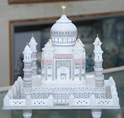 Craftslook 12 '- Marbre-Italien-Taj Mahal-Marbre-Blanc-Grand Modèle-Taj Mahal ultra-fin fait main artisanat Ehs Home Decor