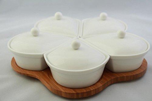 11-tlg.Tablett Schalen Set Schalen aus Porzellan mit Deckel Servierschalenset