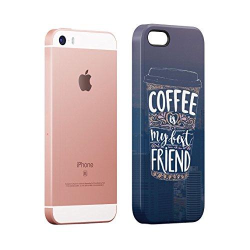 Coffee Mugs Pattern Custodia Posteriore Sottile In Plastica Rigida Cover Per iPhone 5 & iPhone 5s & iPhone SE Slim Fit Hard Case Cover Coffee My Friend