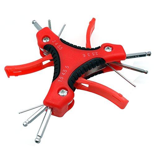 Preisvergleich Produktbild suyizn 9PCS klappbar Mini Schlüssel Ein Set für Schlüssel Auto Repair Tool BALL POINT Schlüssel Werkzeug für Fahrrad hrc50Härte ZK107