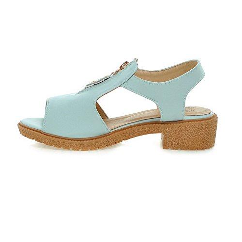 Odomolor Damen Weiches Material Fischkopf Schuhe Rein Niedriger Absatz Sandalen Blau
