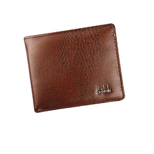 Kanpola Männer Bifold Business PU Leder Geldbörse ID Kreditkartenetui Taschen Geschenk (Schwarz) Braun
