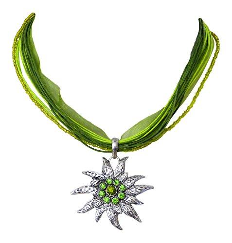 Trachtenschmuck Dirndl Kette großes Kristall Edelweiss grün - Peridot & Olivine- Mehrreihiges Collier