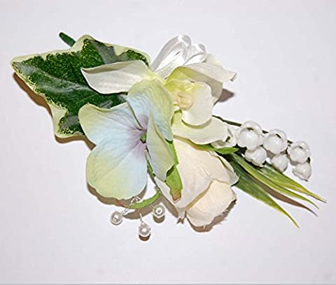 Angel Personalised Custom Hand Made Boutonniere Buttonhole Corsage Cream Rose Orchid Hydrangea Lily of the Valley Ivy Leaf Pearl Beads Spray White Double Satin Ribbon Wedding Flowers Groom Best Man Mother of the Bride