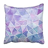 Custom Pink Color Triangle Abstract Watercolor Hand Made Artwork Violet and Lilac Blue Water Pillowcase 18x18 inch